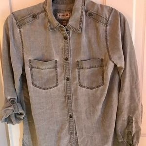 EXPRESS Gray Boyfriend Shirt Size S